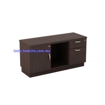 QX-Series Fully Woodgrain Fixed Pedestal + Open Shelf + Swing Door Director Side Cabinet