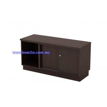 Q-YOS 6120 Fully Woodgrain Sliding Door + Open Shelf Director Side Cabinet