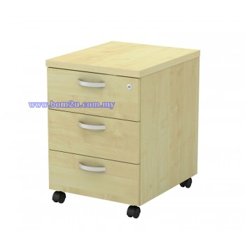 Q-YM 3 Fully Woodgrain 3 Drawer Mobile Pedestal With Lock