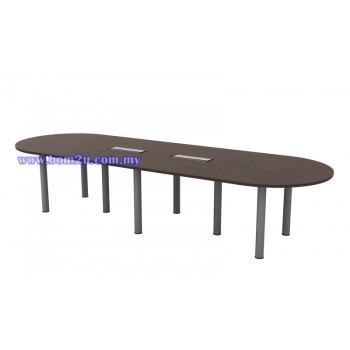QIC-36 Melamine Woodgrain Oval Shape Conference Table With Metal Pole Leg
