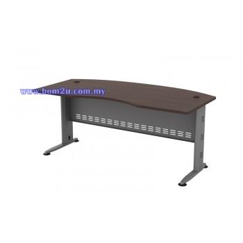 QMB-55 Melamine Woodgrain 6' D-Shape Curve Executive Table