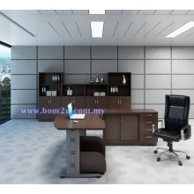 [QMB-55-SET] Melamine Woodgrain 6' D-Shape Curve Executive Table Set