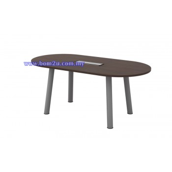 Q-Series Melamine Woodgrain Oval Shape Conference Table With Metal Pole Leg