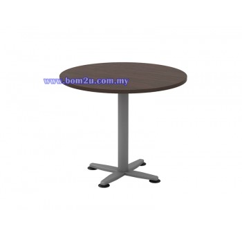 Q-Series Melamine Woodgrain Round Conference Table With Metal Leg