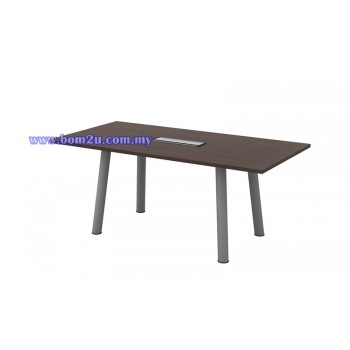 Q-Series Melamine Woodgrain Rectangular Shape Conference Table With Metal Pole Leg