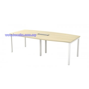 SBB 18/24 Melamine Woodgrain Boat Shape Conference Table With U-Leg