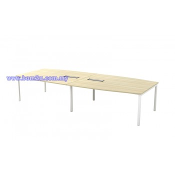 SBB 30/36 Melamine Woodgrain Boat Shape Conference Table With U-Leg