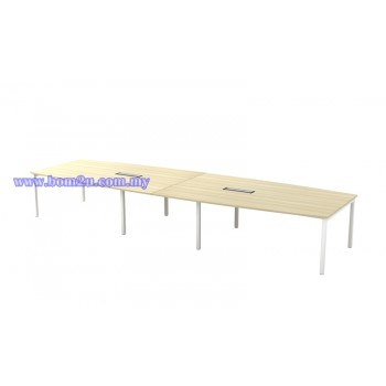 SBB-48 Melamine Woodgrain Boat Shape Conference Table With U-Leg