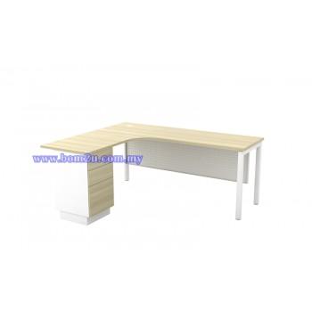 SL-Series 552/652-3D Melamine Woodgrain L-shape Superior Compact Table