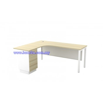 SL-Series 552/652-4D Melamine Woodgrain L-shape Superior Compact Table