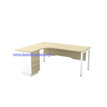 SL-Series 1515/1815-4D Melamine Woodgrain L-shape Superior Compact Table