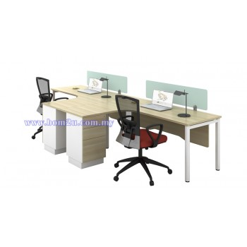 SL-Series Melamine Woodgrain 2 Seater L-shape Workstation
