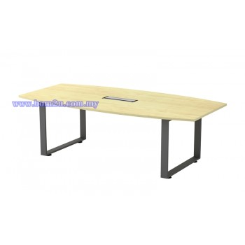 SQBB 18/24 Melamine Woodgrain Boat Shape Conference Table With O-Leg