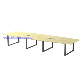 SQBB-48 Melamine Woodgrain Boat Shape Conference Table With O-Leg