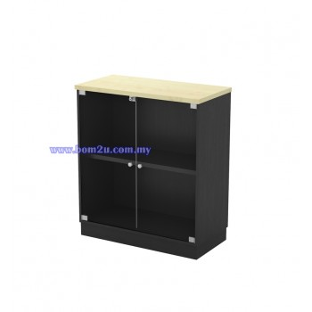T-YG 9 Melamine Woodgrain Swinging GLass Door Low Cabinet With Lock