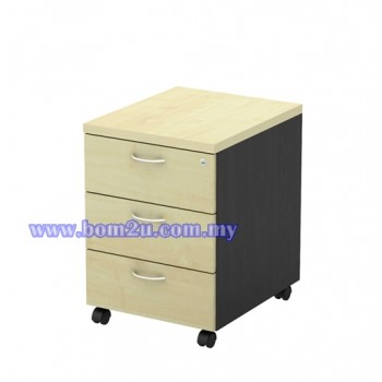 T-YM 3 Melamine Woodgrain 3 Drawer Mobile Pedestal With Lock