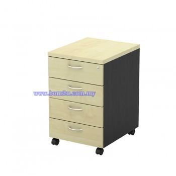T-YMP 4 Melamine Woodgrain 4 Drawer Mobile Pedestal With Lock
