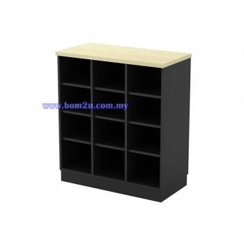 T-YP 9 Melamine Woodgrain Pigeon Hole Low Cabinet