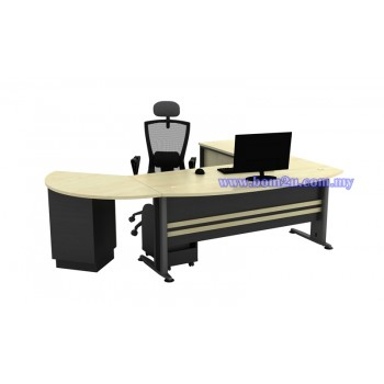 [TMB-180A SET] Melamine Woodgrain 6' D-Shape Executive Table Set