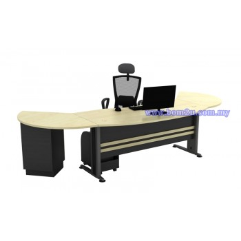 [TMB-55-SET] Melamine Woodgrain 6' D-Shape Curve Executive Table Set