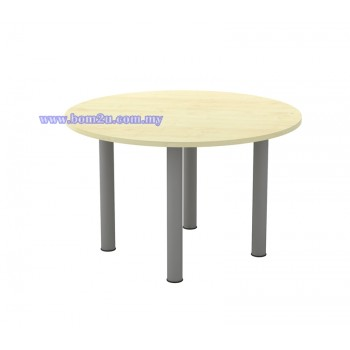 T2-Series Melamine Woodgrain Round Conference Table With Metal Pole Leg