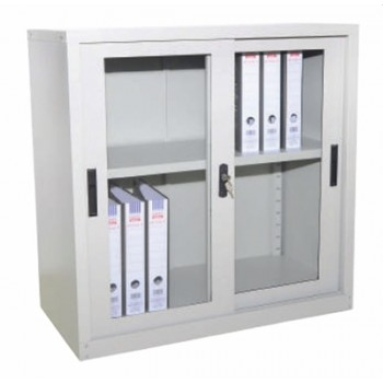 Half Height Glass Sliding Door Steel Cupboard