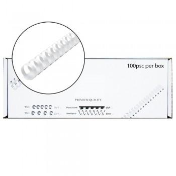 M-Bind Plastic Binding Comb - 12mm x 21 Ring, 100pcs/box, White