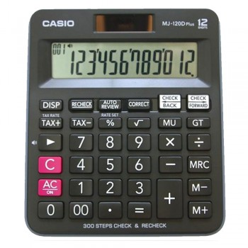 Casio Desktop Calculator - 12 Digits, 300 Steps Check & Recheck, Tax Calculation (MJ-120D-PLUS-B)