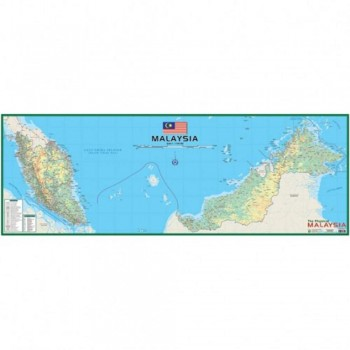 "Map Of Physical Malaysia M202 - (Laminated) H21"" x W58"""